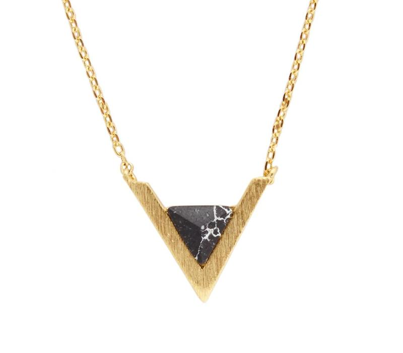Necklace Triangle A Black Howlite gold