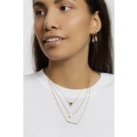 Ketting Triangle A Black Howlite goud