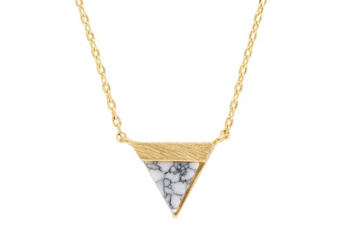 All the Luck in the World Ketting Triangle B White Howlite goud