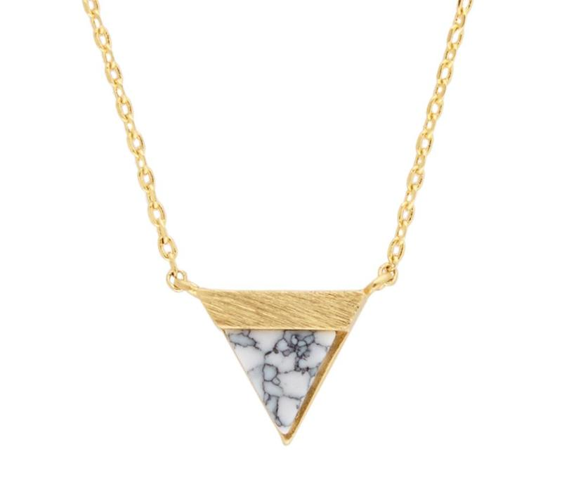 Necklace Triangle B White Howlite plated