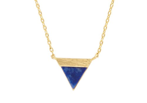 All the Luck in the World Ketting Triangle B Blue Lapis Lazuli goud