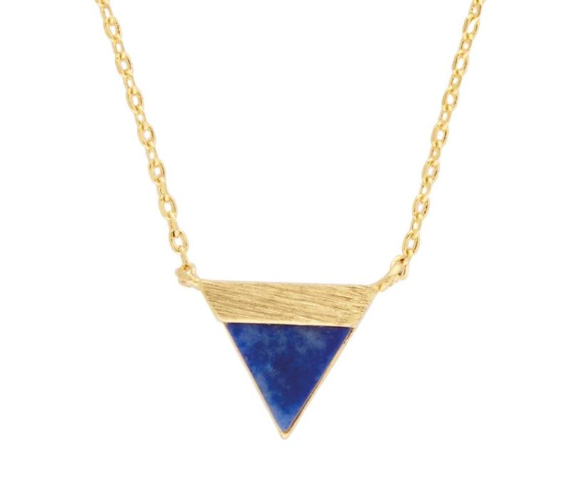 Necklace Triangle B Blue Lapis Lazuli gold