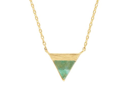 All the Luck in the World Galaxy Goldplated Necklace Triangle B Green Chrysoprase