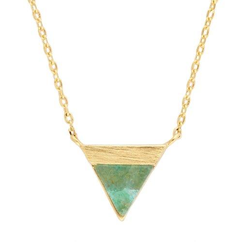 Ketting Triangle B Green Chrysoprase goud
