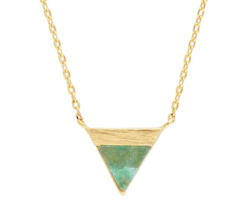 Galaxy Goldplated Necklace Triangle B Green Chrysoprase