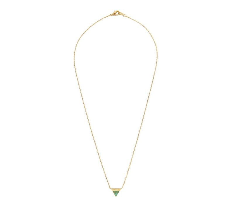 Ketting Triangle B Green Chrysoprase goud