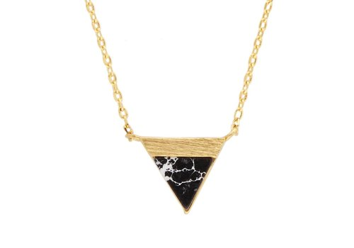 All the Luck in the World Necklace Triangle B Black Howlite gold