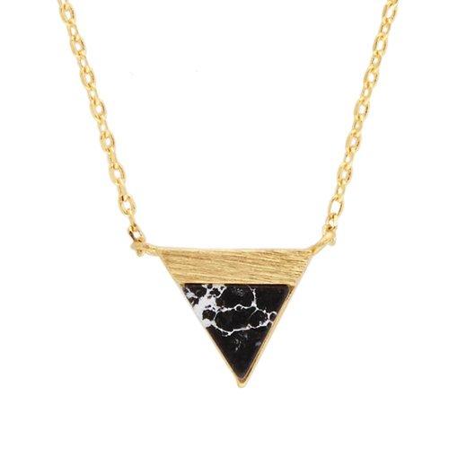 Ketting Triangle B Black Howlite goud