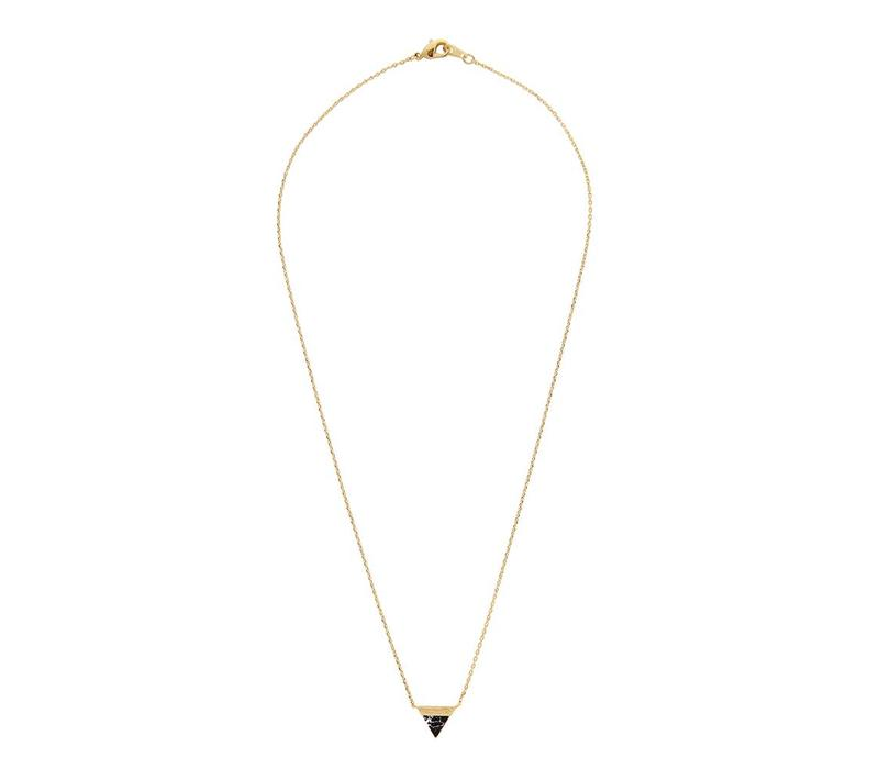 Necklace Triangle B Black Howlite gold