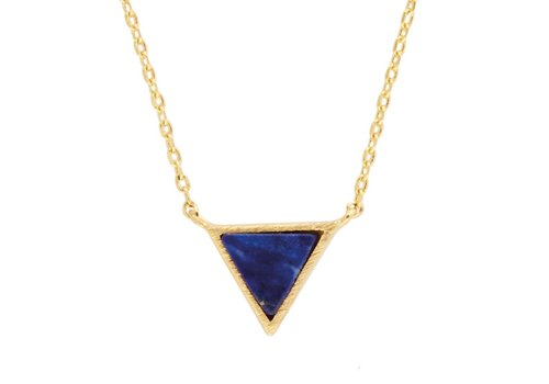 All the luck in the world Necklace Triangle C Blue Lapis Lazuli gold