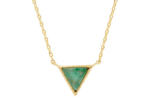 All the Luck in the World Ketting Triangle C Green Chrysoprase goud