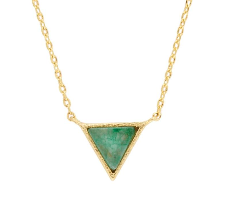 Necklace Triangle C Green Chrysoprase plated