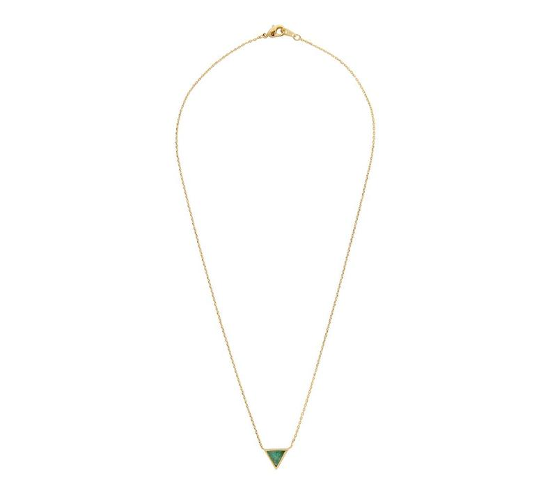 Ketting Triangle C Green Chrysoprase goud