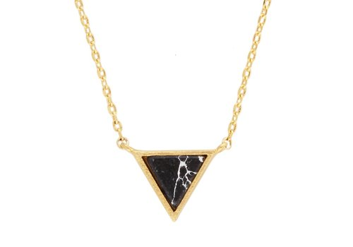 All the Luck in the World Necklace Triangle C Black Howlite gold