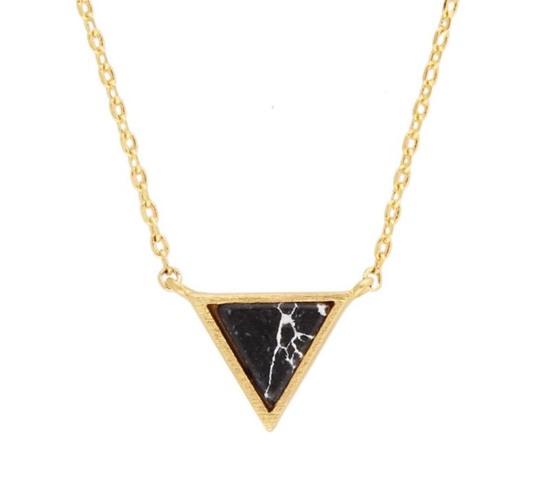 Necklace Triangle C Black Howlite plated