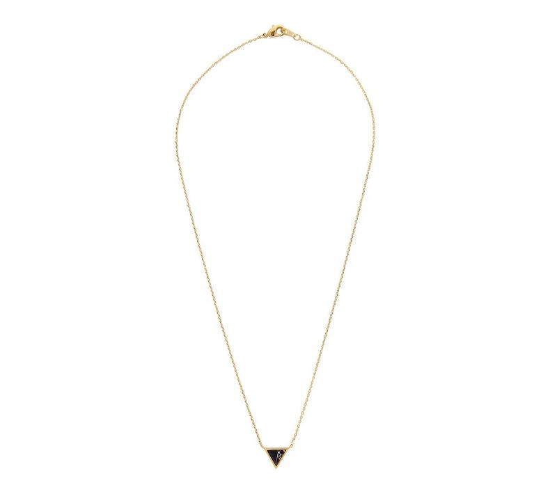 Ketting Triangle C Black Howlite goud