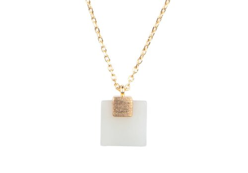 All the Luck in the World Necklace Pastel New Jade Square gold