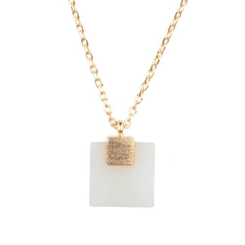 Galaxy Goldplated Ketting Pastel New Jade Square