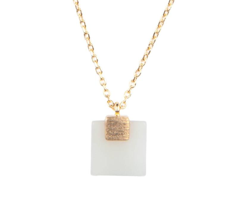Necklace Pastel New Jade Square gold