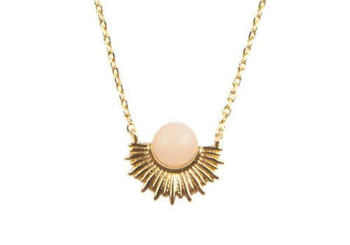 All the Luck in the World Galaxy Goldplated Necklace Pastel Rose Quartz Sun