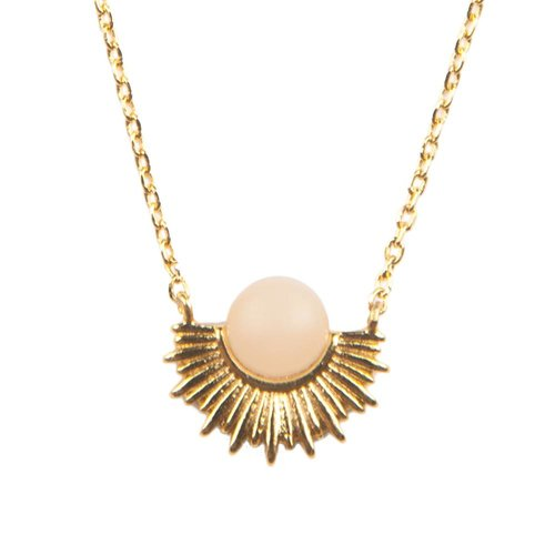 Ketting Pastel Rose Quartz Sun goud