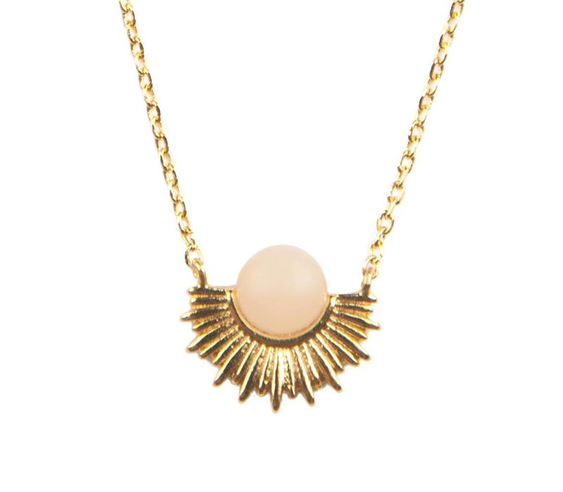 Galaxy Goldplated Necklace Pastel Rose Quartz Sun