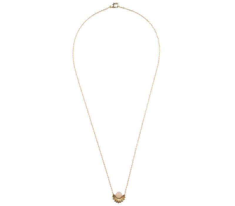 Necklace Pastel Rose Quartz Sun gold