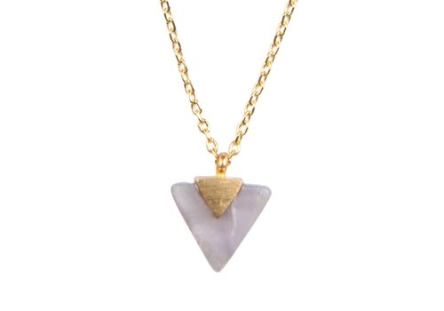 All the Luck in the World Galaxy Goldplated Necklace Pastel Purple Amethyst Triangle