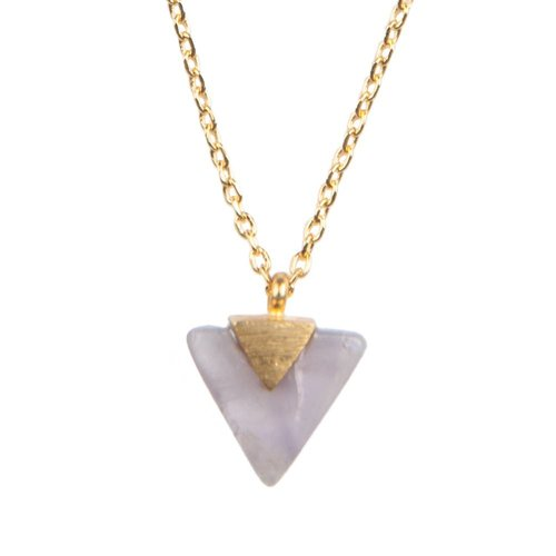 Ketting Pastel Purple Amethyst Triangle goud