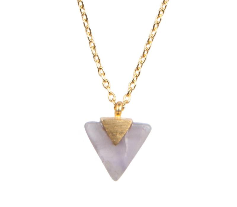 Galaxy Goldplated Necklace Pastel Purple Amethyst Triangle