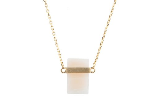 All the Luck in the World Necklace Pastel Rose Quartz Rectangle gold