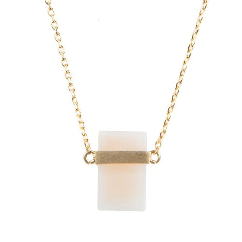 Galaxy Goldplated Ketting Pastel Rose Quartz Rectangle