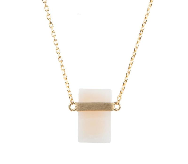 Ketting Pastel Rose Quartz Rectangle goud