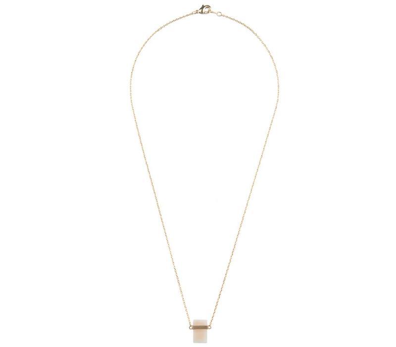 Necklace Pastel Rose Quartz Rectangle gold