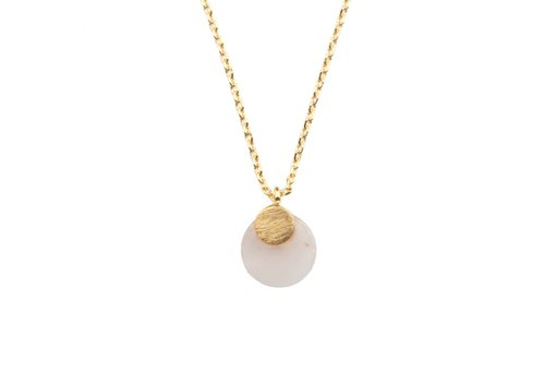 All the Luck in the World Galaxy Goldplated Necklace Pastel Rose Quartz Moon