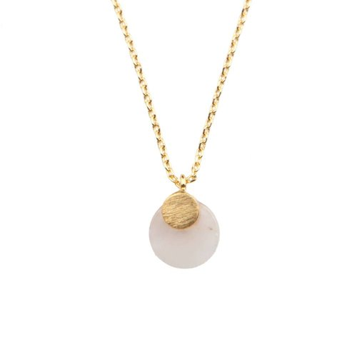 Ketting Pastel Rose Quartz Moon goud