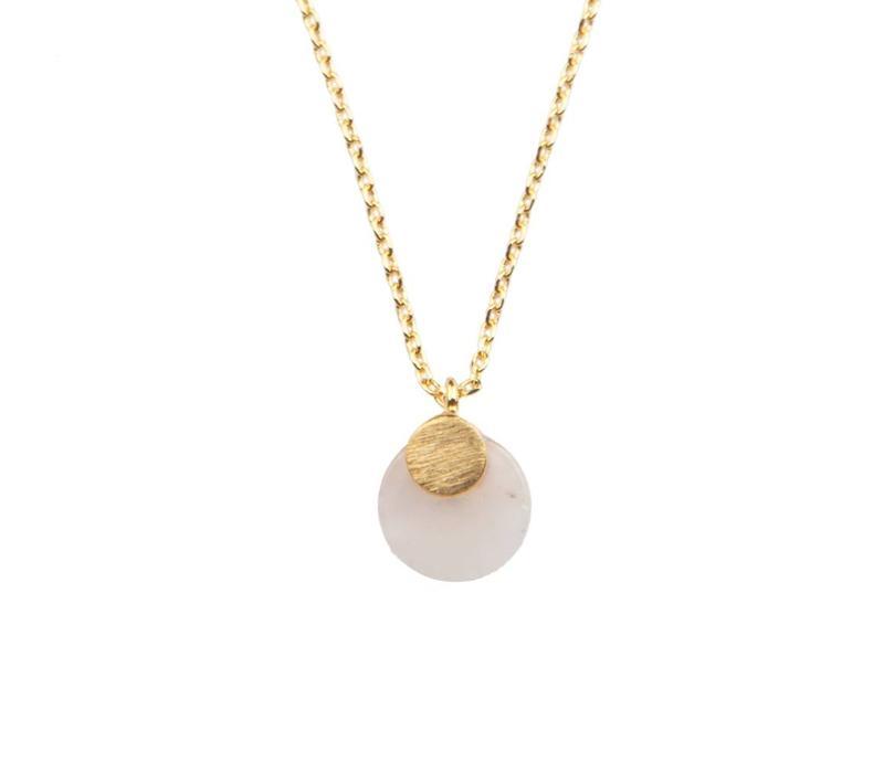 Necklace Pastel Rose Quartz Moon gold