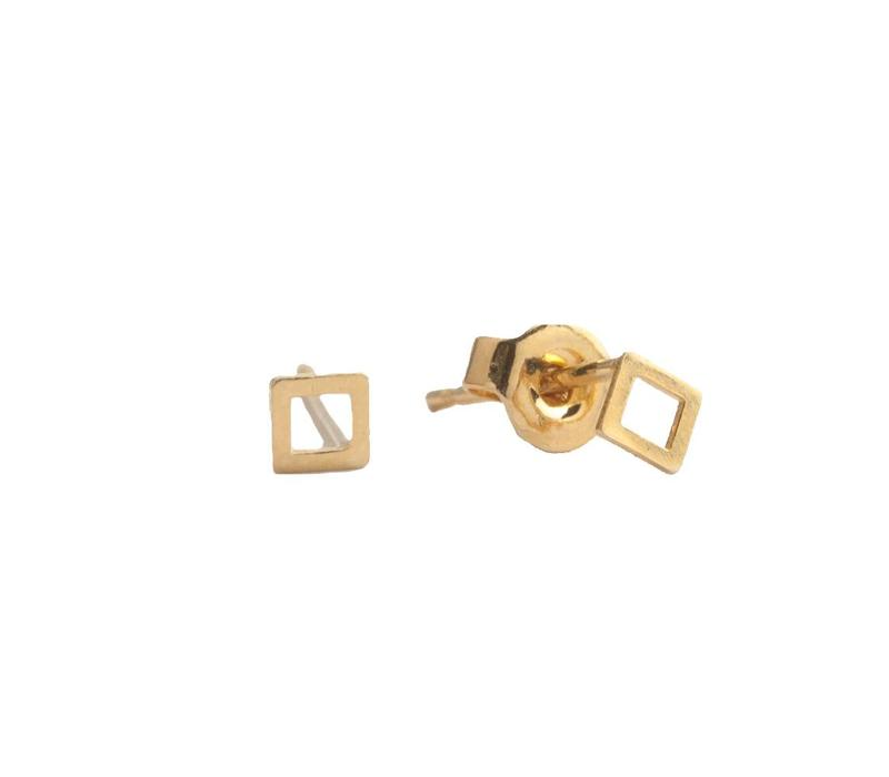 Petite Goldplated Sterling Silver Earrings Square