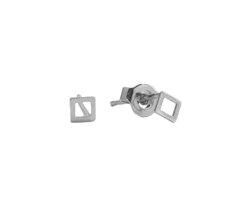 Petite Sterling Silver Oorbellen Vierkant