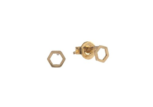 All the Luck in the World Petite Goldplated Sterling Silver Oorbellen Hexagon