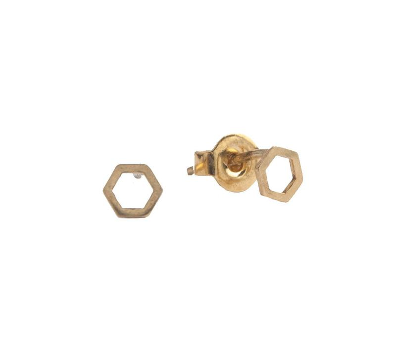 Earrings Hexagon gold