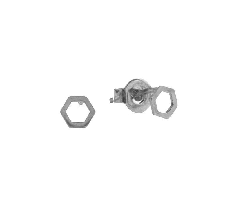 Petite Sterling Silver Oorbellen Hexagon