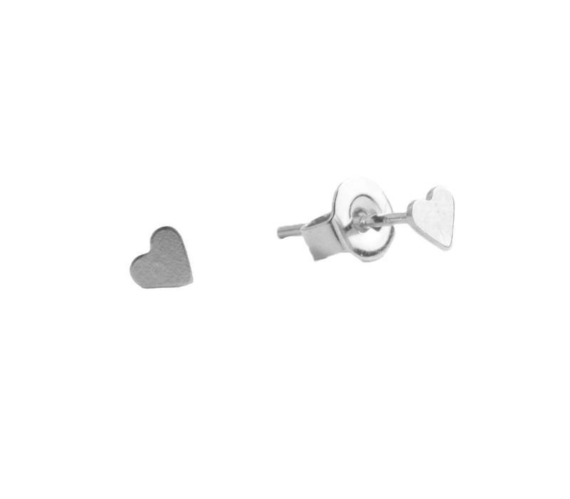Petite Sterling Silver Oorbellen Hartje