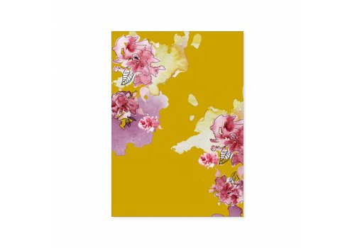 All the Luck in the World Dubble postcard Yellow Floral