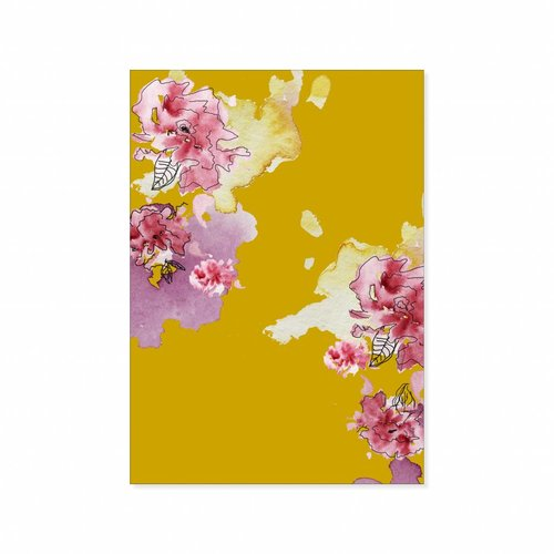 Dubbele kaart Yellow Floral