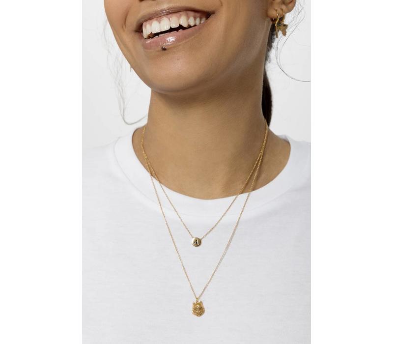 Necklace letter V plated