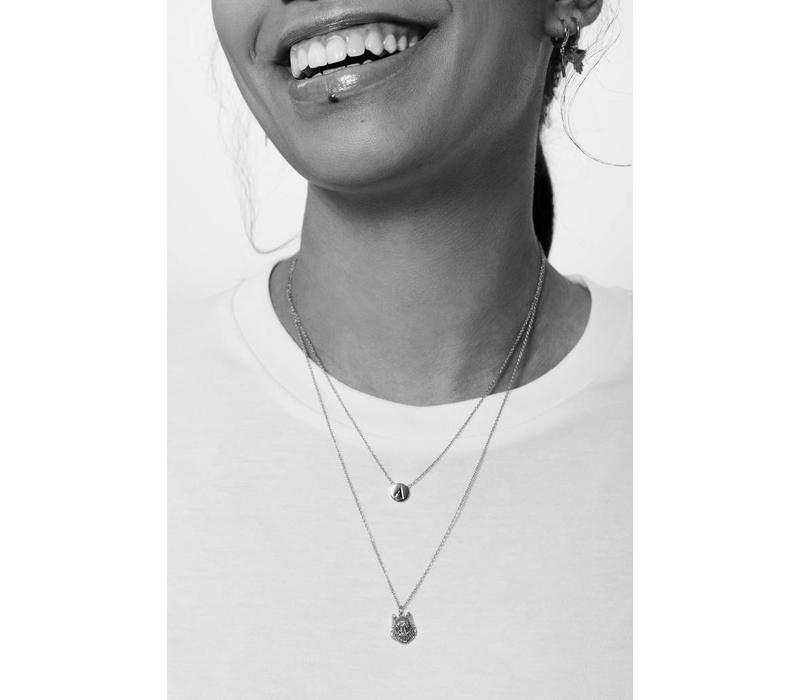 Character Silverplated Ketting letter Q