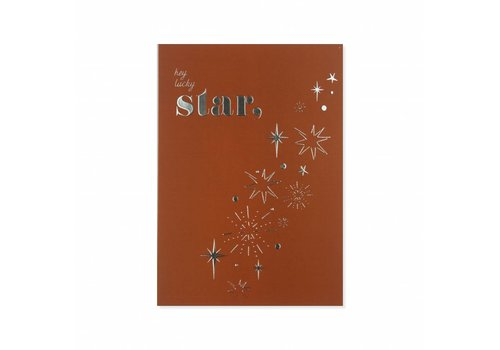 All the luck in the world Postcard Lucky Star silver