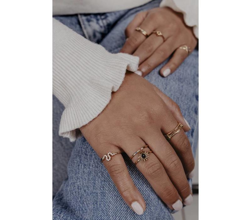 Bliss Goldplated Ring slang zwart transparant