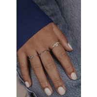 Bliss Silverplated Ring Ster Zwart
